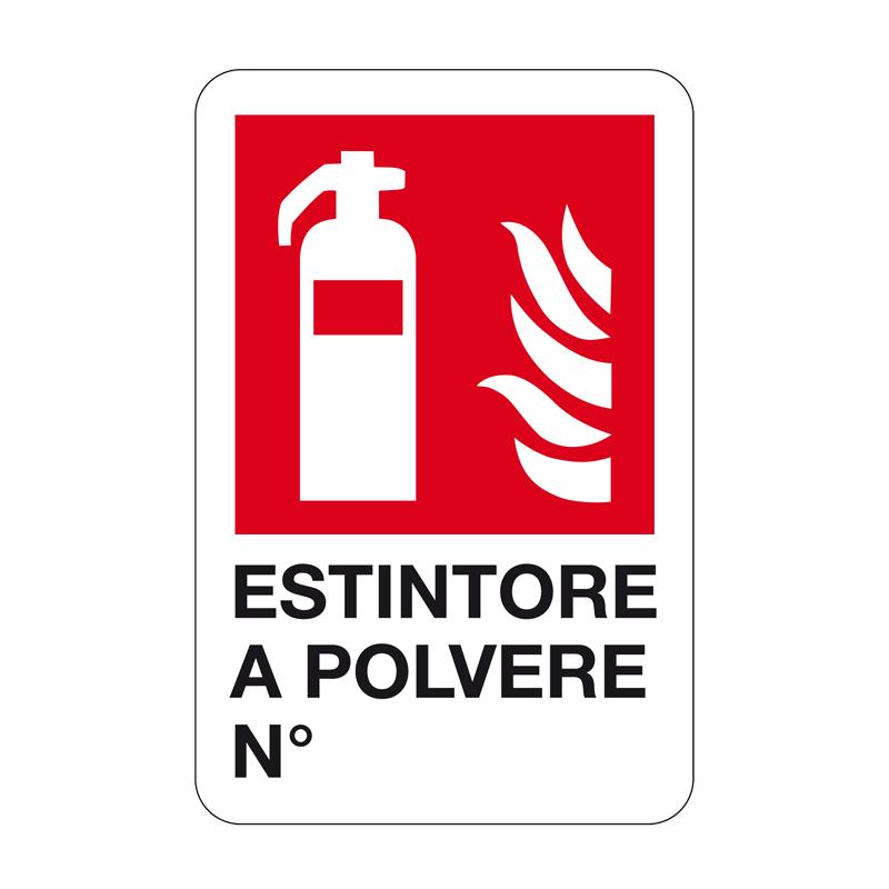 ESTINTORE A POLVERE N° CARTELLO ALLUMINIO 330X500 ANTINCENDIO