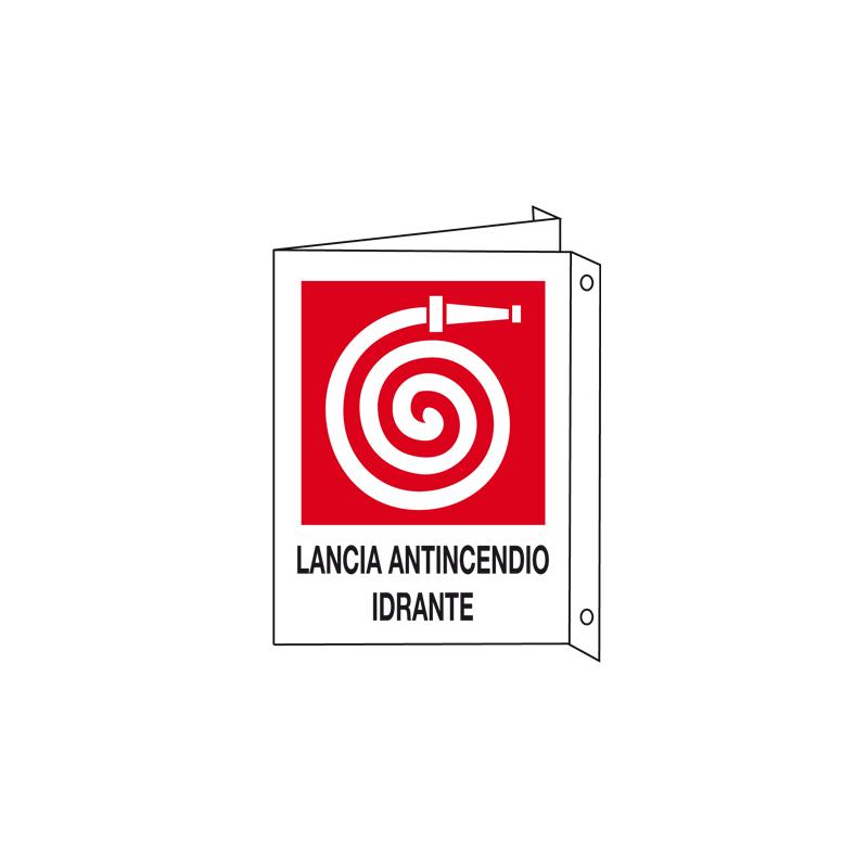 LANCIA ANTINCENDIO IDRANTE CARTELLO ALLUMINIO 150X175 BIF