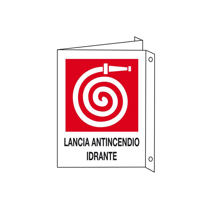 LANCIA ANTINCENDIO IDRANTE CARTELLO ALLUMINIO 200X300 BIF