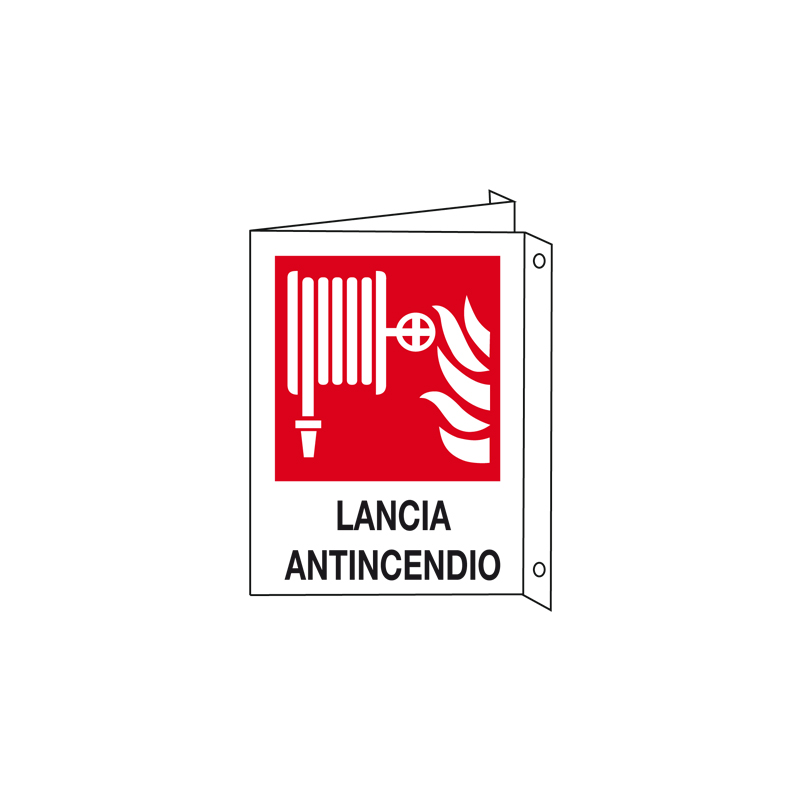 LANCIA ANTINCENDIO CARTELLO ALLUMINIO 150X175 BIF