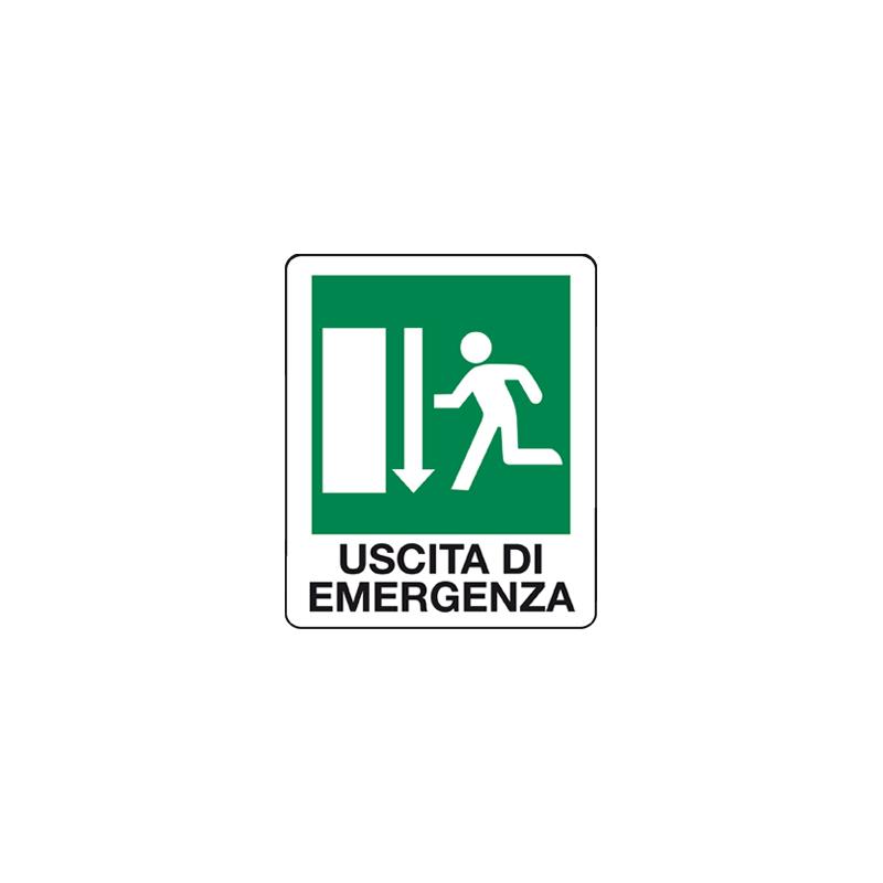 USCITA DI EMERGENZA GIU' CARTELLO ADESIVO 100X120 EMERGENZA