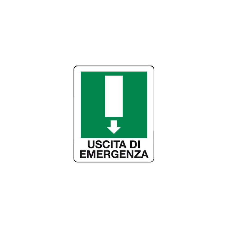 USCITA DI EMERGENZA FRECCIA GIU' CARTELLO ADESIVO 100X120 EMERGENZA