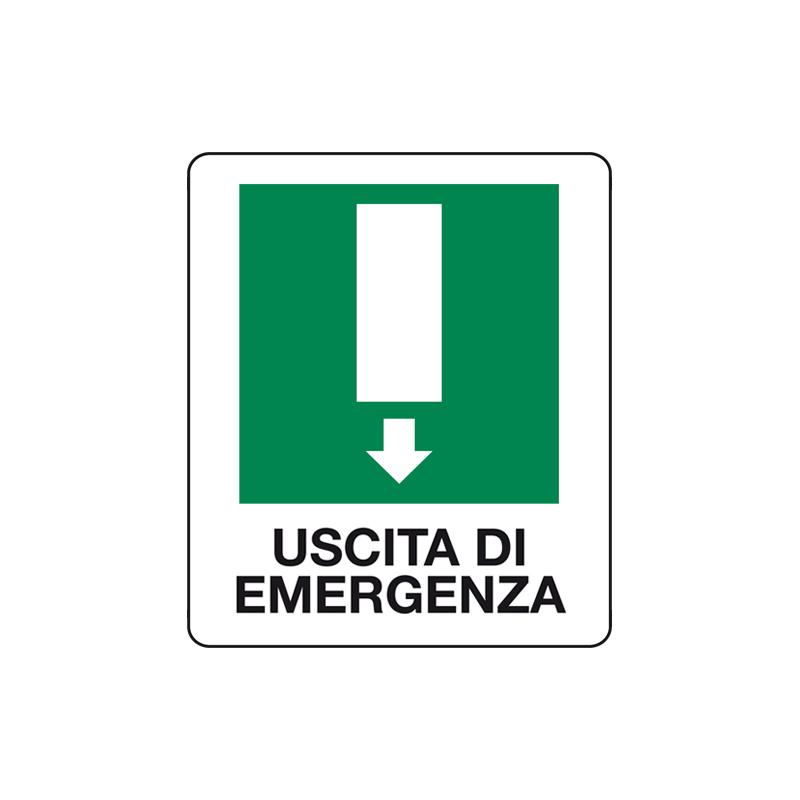 USCITA DI EMERGENZA FRECCIA GIU' CARTELLO ALLUMINIO 150X175 EMERGENZA