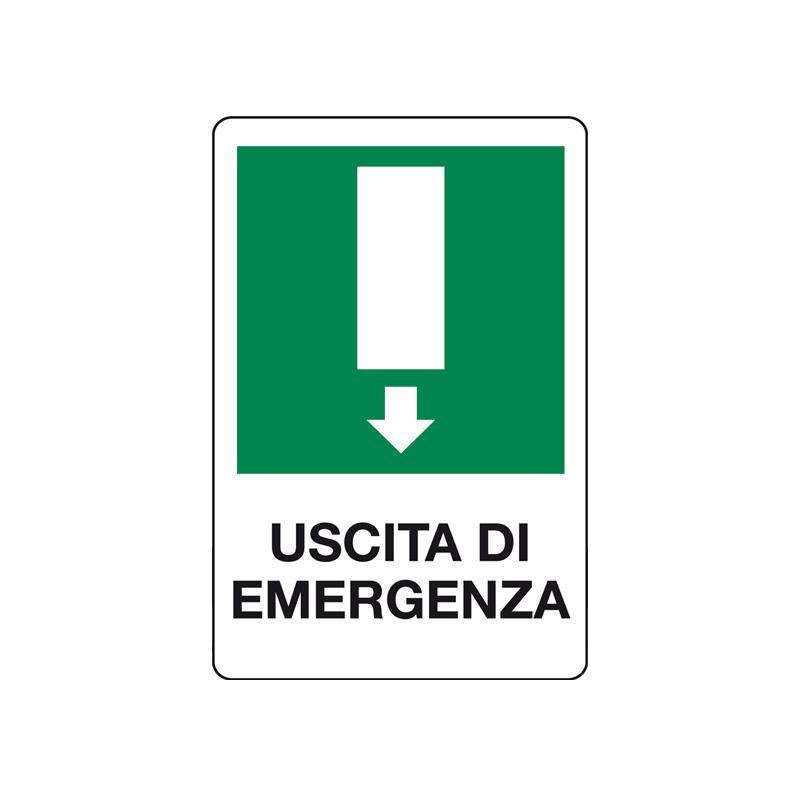 USCITA DI EMERGENZA FRECCIA GIU' CARTELLO ALLUMINIO 200X300 EMERGENZA