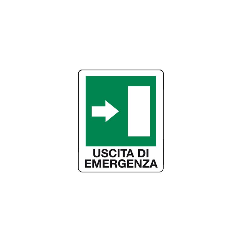 USCITA DI EMERGENZA FRECCIA A DESTRA CARTELLO ALLUMINIO 100X120 EMERGENZA
