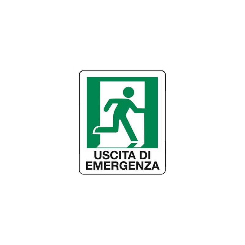 USCITA DI EMERGENZA OMINO A DESTRA CARTELLO ADESIVO 100X120 EMERGENZA