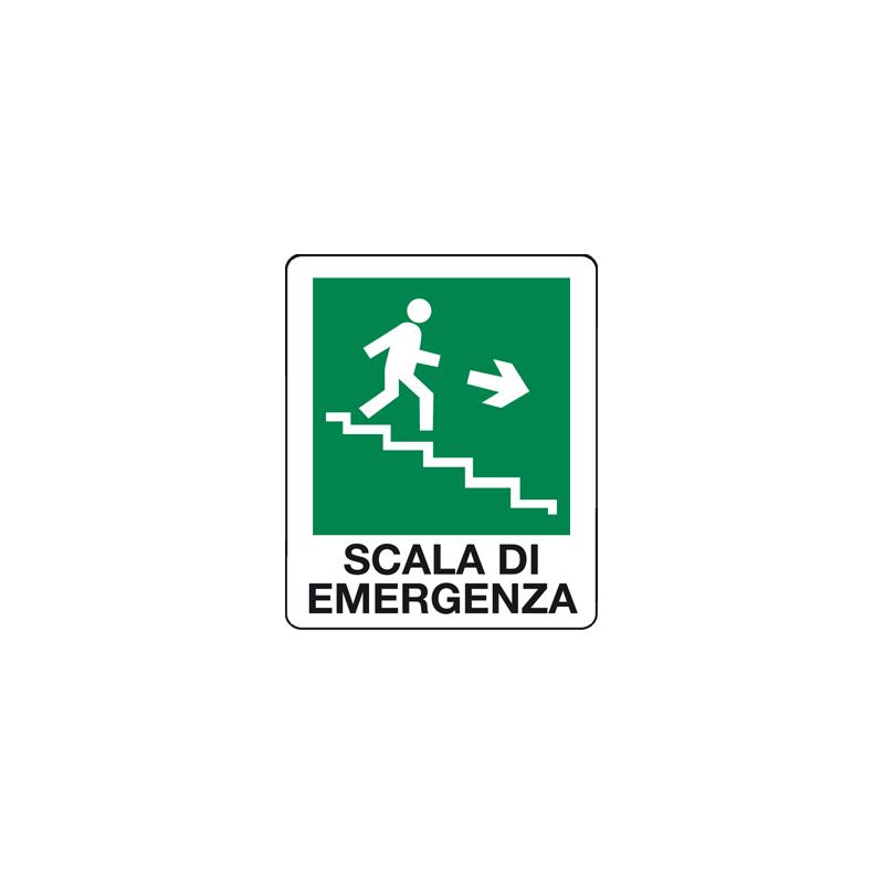 SCALA DI EMERGENZA SCENDERE A DESTRA CARTELLO ADESIVO 100X120 EMERGENZA