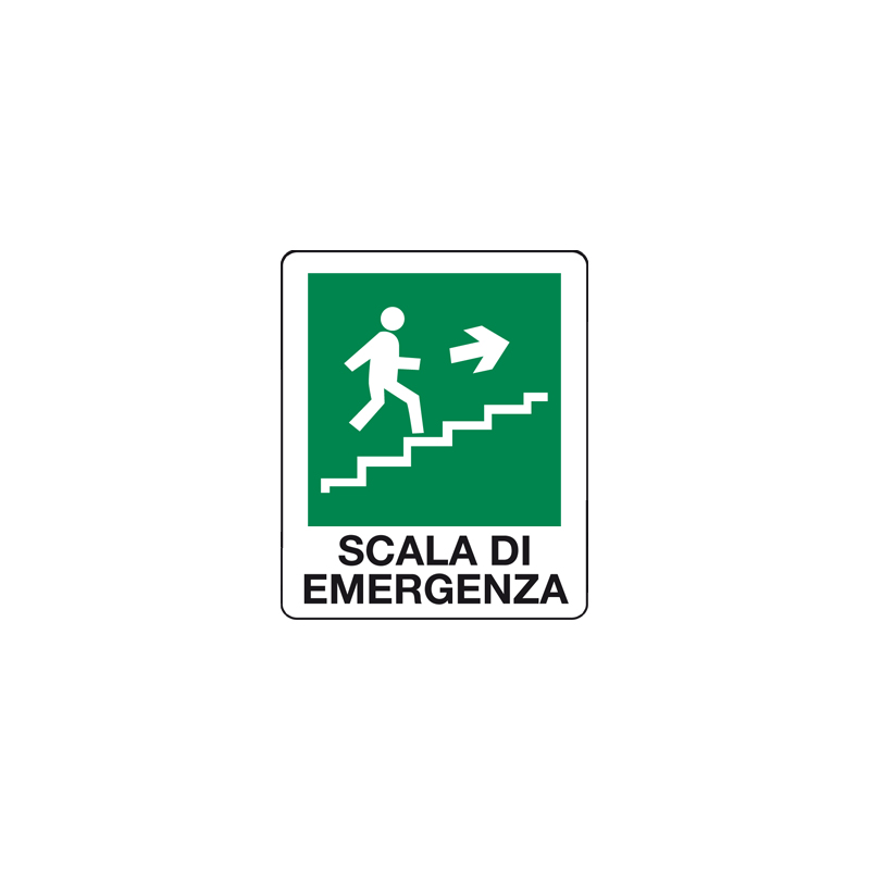 SCALA DI EMERGENZA SALIRE A DESTRA CARTELLO ADESIVO 100X120 EMERGENZA