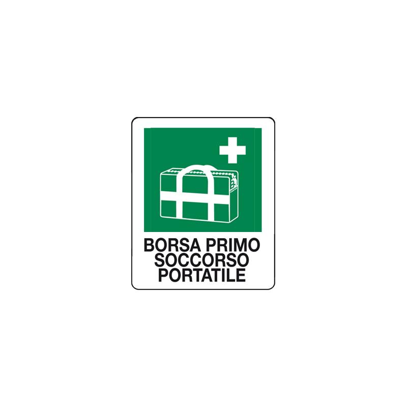 BORSA PRIMO SOCCORSO PORTATILE CARTELLO ADESIVO 100X120 EMERGENZA