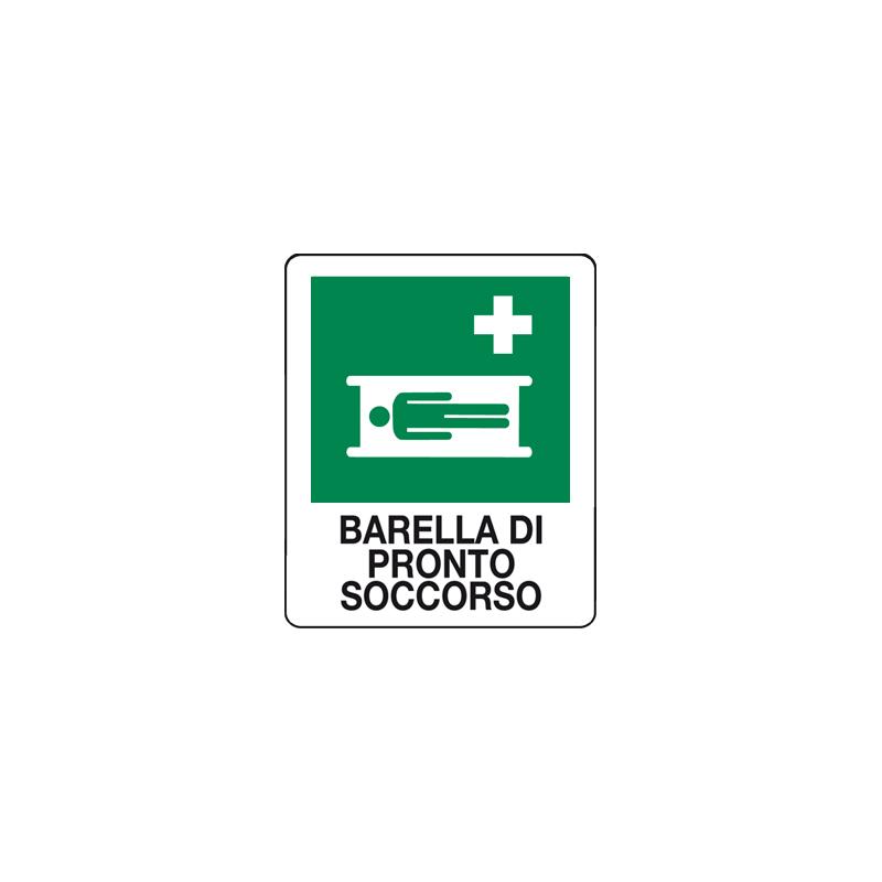 BARELLA DI PRONTO SOCCORSO CARTELLO ADESIVO 100X120 EMERGENZA