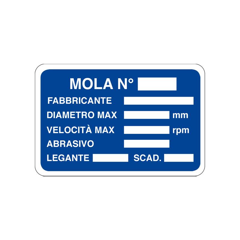 MOLA N° FABBRICANTE DIAMETRO CARTELLO ALLUMINIO 300X200 INFORMAZIONE