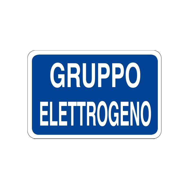 GRUPPO ELETTROGENO CARTELLO ALLUMINIO 300X200 INFORMAZIONE