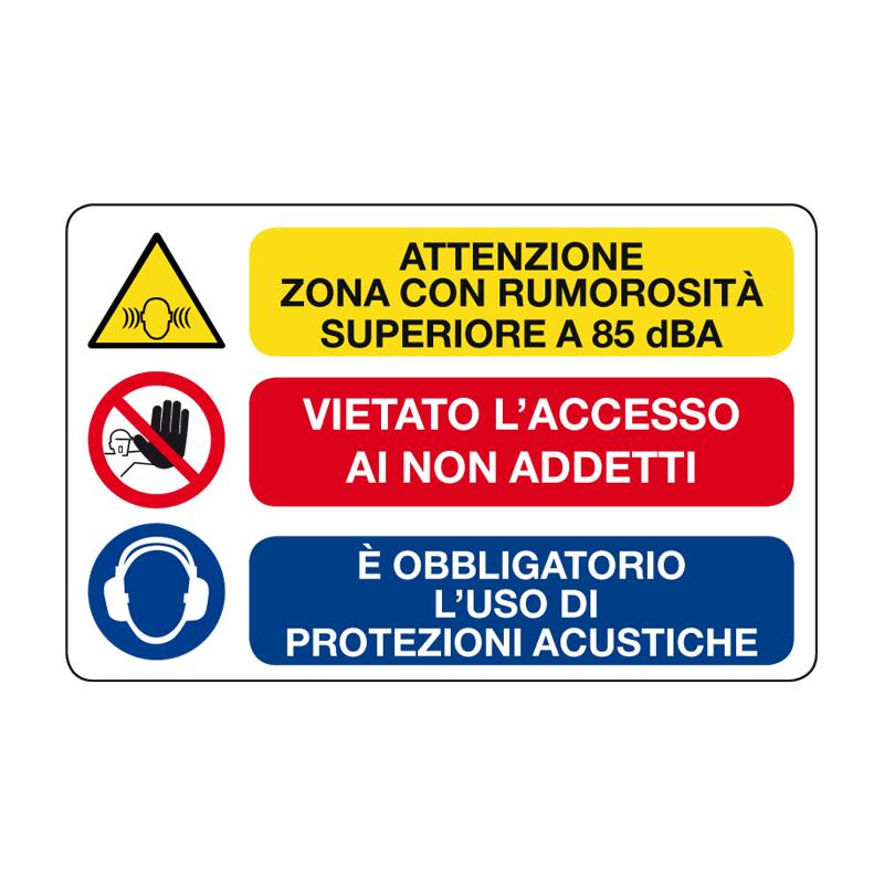 ATTENZIONE ZONA RUMOROSA SUPERIORE CARTELLO ALLUMINIO 500X330 MULTISIMBOLO