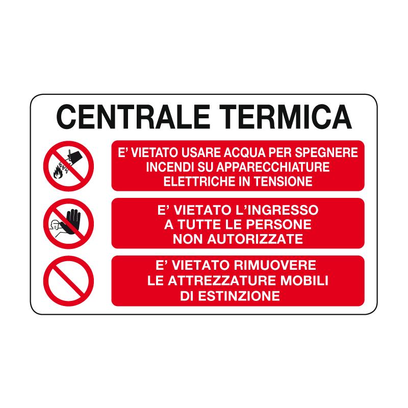 CENTRALE TERMICA CARTELLO ALLUMINIO 500X330 MULTISIMBOLO