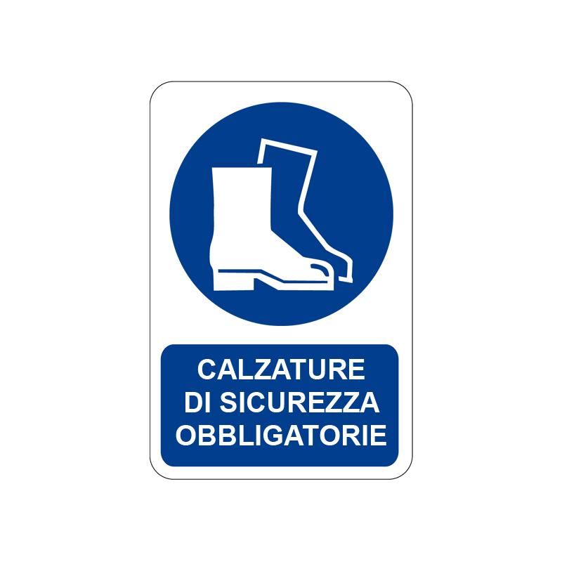 CALZATURE DI SICUREZZA OBBLIGATORIE CARTELLO ALLUMINIO 200X300 OBBLIGO