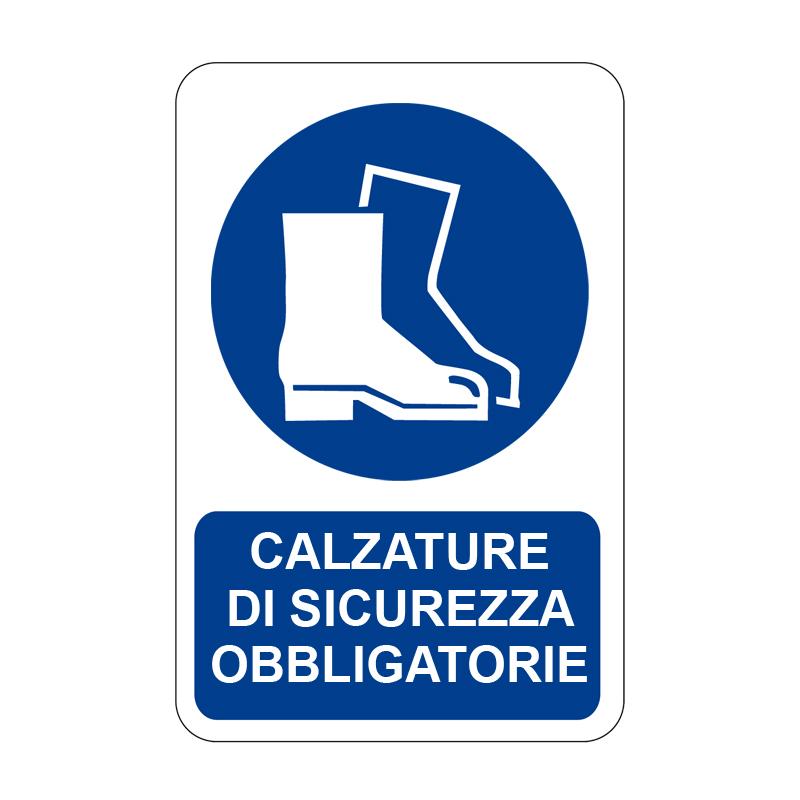 CALZATURE DI SICUREZZA OBBLIGATORIE CARTELLO ALLUMINIO 330X500 OBBLIGO