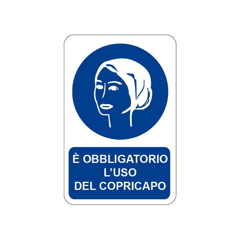 È OBBLIGATORIO L'USO DEL COPRICAPO CARTELLO ALLUMINIO 200X300 OBBLIGO