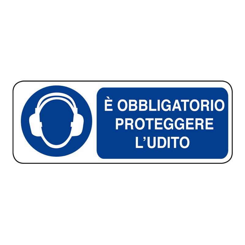 È OBBLIGATORIO PROTEGGERE L'UDITO ADESIVO 330X125 OBBLIGO