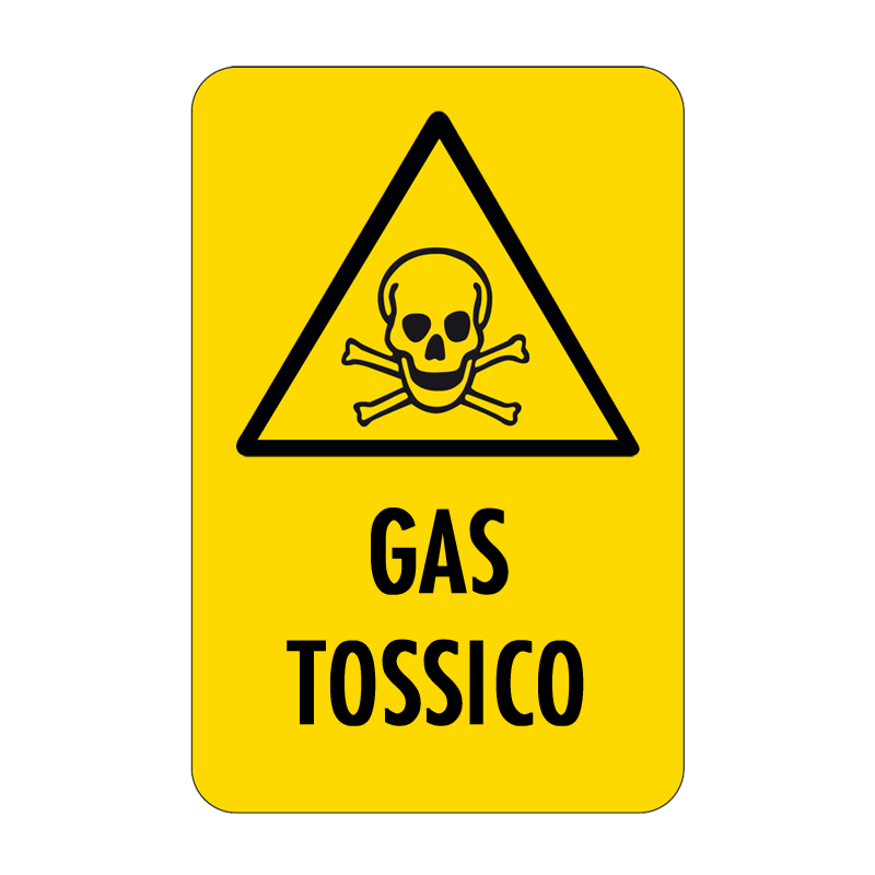 GAS TOSSICO CARTELLO ALLUMINIO 330X500 PERICOLO