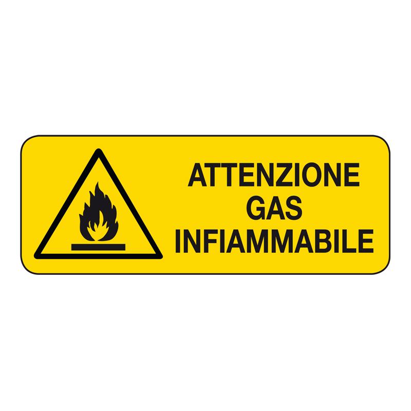ATTENZIONE  GAS INFIAMMABILE CARTELLO ADESIVO 330X125 PERICOLO
