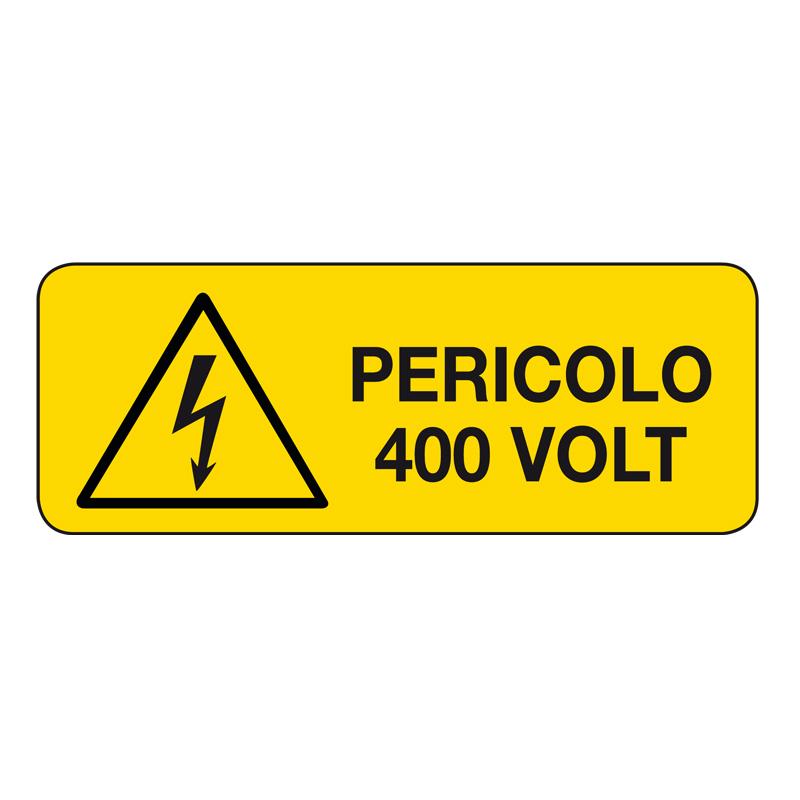 PERICOLO 400 VOLT CARTELLO ADESIVO 330X125 PERICOLO