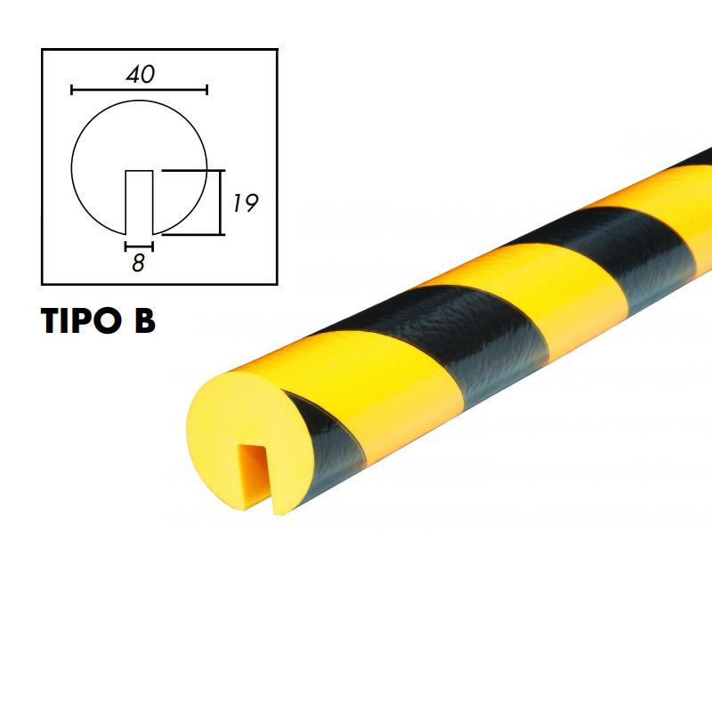 PROFILO PARACOLPI TIPO B GIALLO/NERO TONDO DA 50 MM INT.8X19 MM ROTOLI DA 5 M
