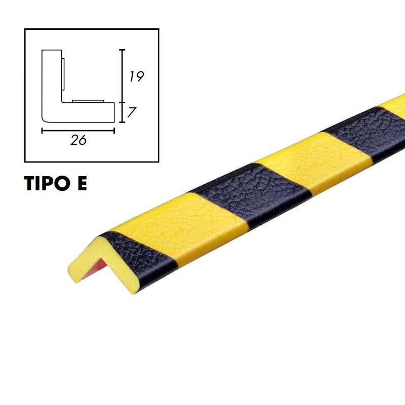 PROFILO PARACOLPI TIPO E GIALLO/NERO ANG.PIATTO 26X26 INT.19X19 SP.7 MM X5 MT